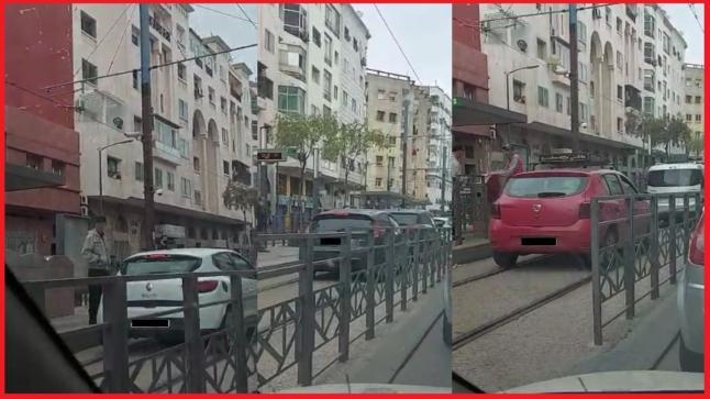 """فيديو لسيارات تسير في سكة """"الترامواي"""" يضع المخالفين في قبضة الأمن"""